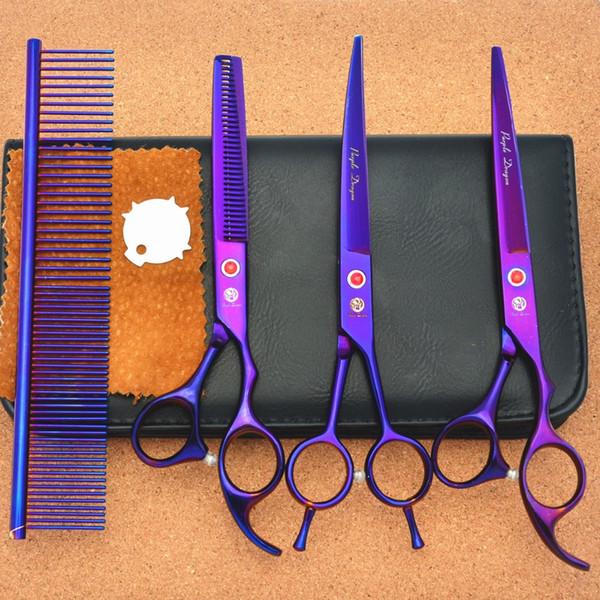 Wholesale- 4Pcs Set 693# 7 Inch TOP GRADE Hairdressing Scissors JP 440C Curve Dogs Cats Pets Cutting Scissors Thinning Shears Hair Scissors