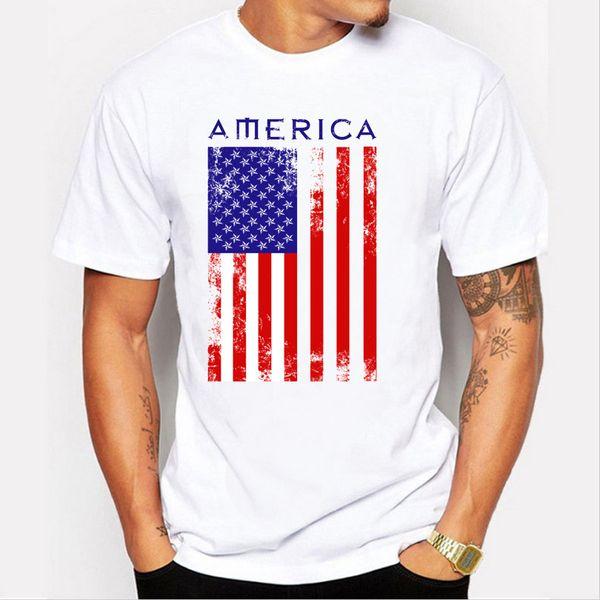 2017 Summer USA Flag Men T shirts 100% Cotton Short Sleeve Fans Nostalgia United States Flag Style T-shirts For Men
