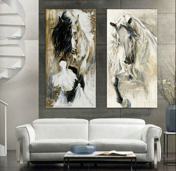 Framed 2 Panel Hand Painted Modern Abstract Animal Art Oil Painting Horse Walking Elegant,High Quality Wall Art Decor on Canvas Multi Sizes
