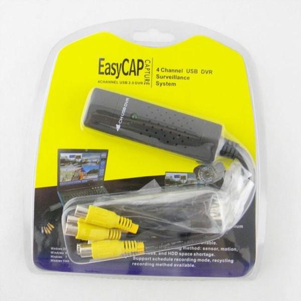 USB 2.0 Easycap 4 Channel , 4CH DVR CCTV Camera Audio Video Capture Adapter Recorder , for PC Laptop Windows XP Win7