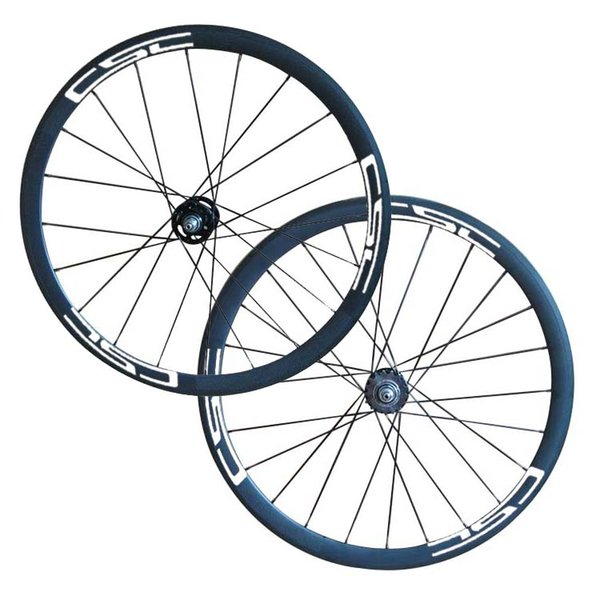 Free Shipping csc 700C full carbon fixed gear bicycle wheelset 38mm Clincher Tubular carbon Track bike wheels