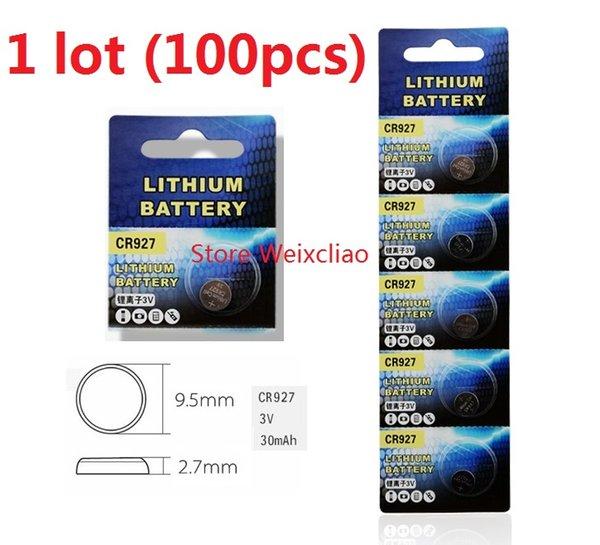 100pcs 1 lot CR927 3V lithium li ion button cell battery CR 927 3 Volt li-ion coin batteries Free Shipping