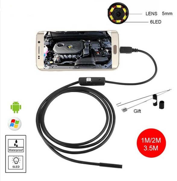 best selling 5.5mm USB Android Endoscope Waterproof Snake Tube Pipe Inspection Camera 1M 2M 3.5M Borescope Waterproof Car Endoscopio