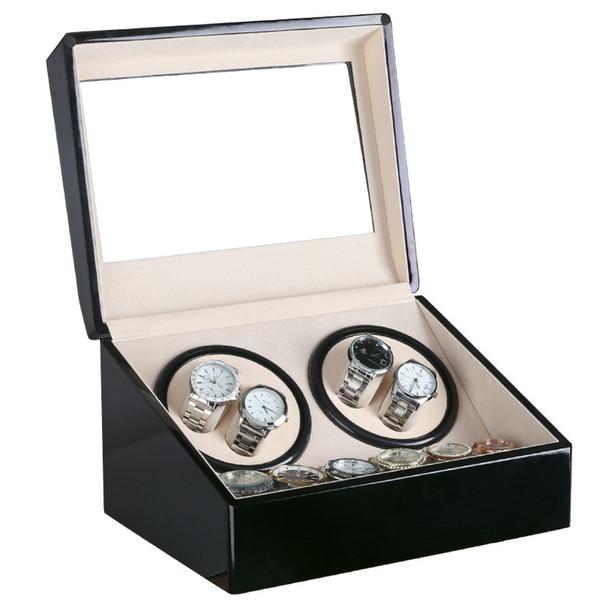 top popular Global Plug Use Black Wood Surface Watch Winder Box Inner Velvet Automatic Rotation 4+6 Watch Winder Storage Case Display Clock Winder Box 2021