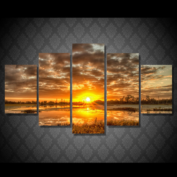 5 Pcs/Set Framed HD Printed Sunrise Morning Lake Landscape Wall Art Canvas Print Poster Canvas Pictures Oil Painting Artworks