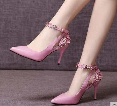 wholesale free shipping factory price hot seller bandage flower pure Cowskin pointed toe diamond women dress shoe 195