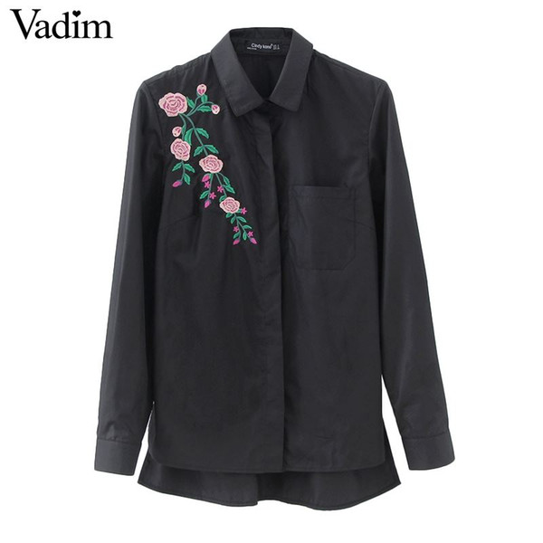best selling Women retro flower embroidery striped blouse long sleeve black shirts turn down collar brand ladies tops blusas LT1511