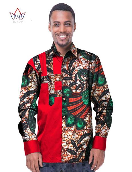 All'ingrosso-Uomini d'affari di tendenza africano moda dashiki design camicia di stampa collare alla coreana personalizzato abiti da uomo dashiki africano WYN229