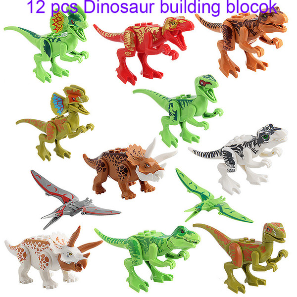 best selling 12Pcs Dinosaurs of block puzzle Bricks Dinosaurs Figures Building Blocks Baby Education Toys for Children Gift Kids Toy