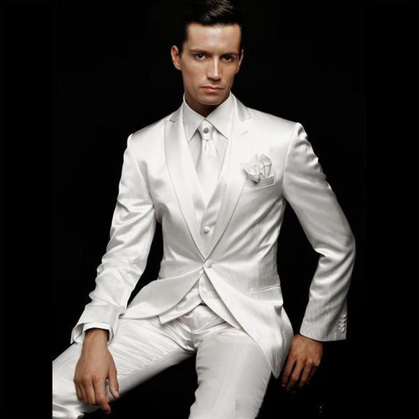 Latest Coat Pant Designs Men Suit Grooms Wear White Wedding Tuxedos For Traje De Novio