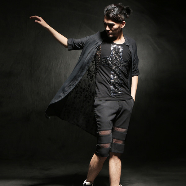 Wholesale- 2016 Summer Long Sexy Linen shirt men with lace Black Extended top Half sleeve