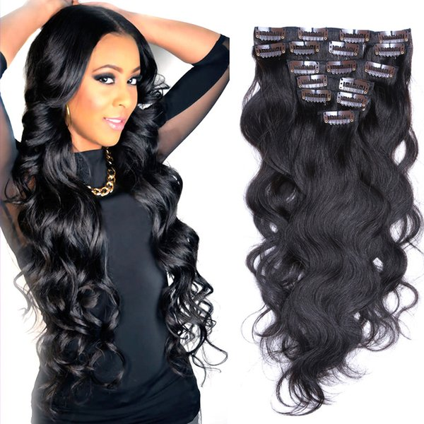 Wholesale Factory Price 10-30inch Malaysian Body Wave Human Hair Clip in Extensions Full Head 100G 8pcs/set Free Shippment