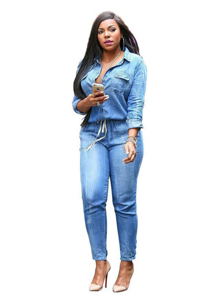 Wholesale- 2017 spring New Fashion Women Long Sleeve Jeans Jumpsuit Handsome Deep V With Botton Rompers Full length Overalls Lady Plus Size