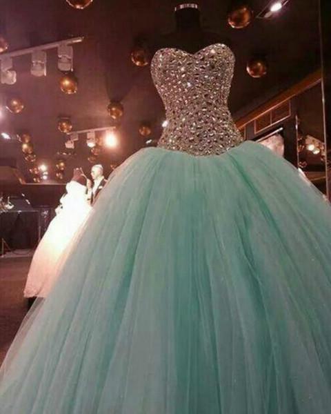 2018 Real as Image Aqua Quinceanera Dresses Ball Gown Bicolor Crystal Beadings Debutante Dresses Sweet 15 Dress Sweetheart Vestido De Fiesta