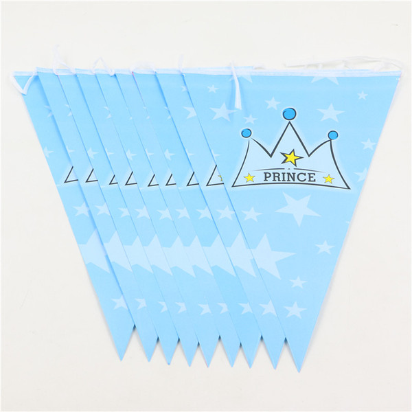 Atacado- Partido Papel Banners Bunting Suprimentos Príncipe Coroa Tema Decorações Do Partido Do Aniversário Bandeiras Fontes Do Partido Do Evento Para Meninos 1 Conjunto