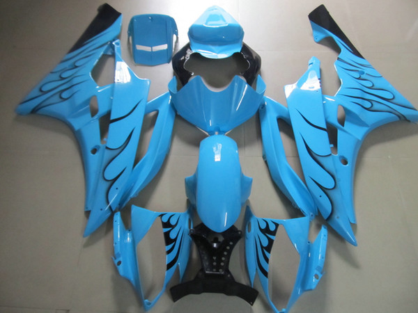 Injection molded fit for Yamaha YZF R6 2006 2007 black flames blue fairings set YZFR6 06 07 OT23