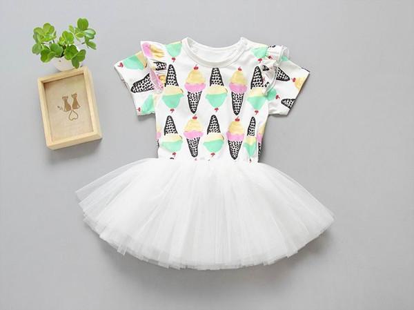 Ins 2017 Sommer Neue Mädchen Mode Kleider Eiscreme Druck Flauschigen Gaze Prinzessin Kleid Kinder Kleidung E1725