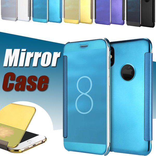 Mirror View Clear Flip Case Electroplate Holder Plating Ultra Thin Slim Chrome Smart Kickstand Sleep Wake Cover For iPhone X 8 7 Plus 6 6S