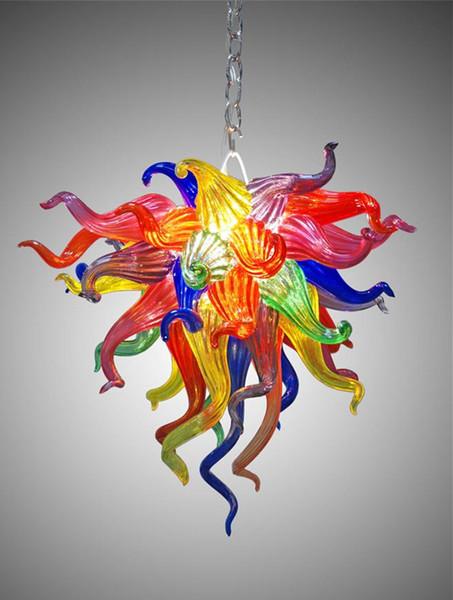 Dale Chihuly Estilo Murano Lustre De Cristal De Vidro Colorido Barato Pequeno Lustre de Iluminação Sala de estar Sala de Jantar LEVOU Luzes Da Arte De Vidro