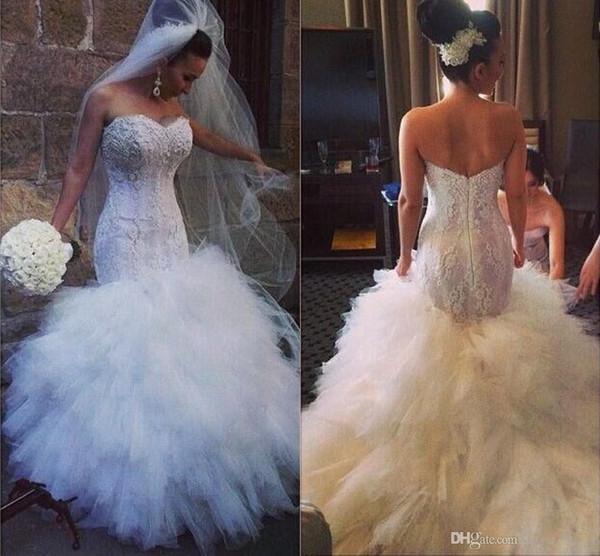 2017 Impresionante encaje sirena vestidos de novia apliques blanco con volantes de tul vestidos de novia longitud del piso Puffy Bodycon vestidos de boda