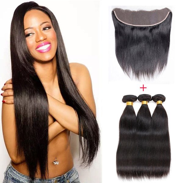 Straight Brazilian Hair Bundles With Lace Frontal Closure 8A Grade Unprocessed Virgin Human Hair Weaves Closure Natural Color Dyeable 8-30