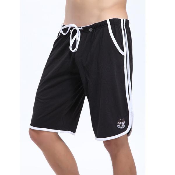 Al por mayor- WJ marca ropa casual hombre pantalones cortos de algodón respirable G-Strings Jocks correas dentro de hombre corto cómodo estilo sólido verano negro nuevo