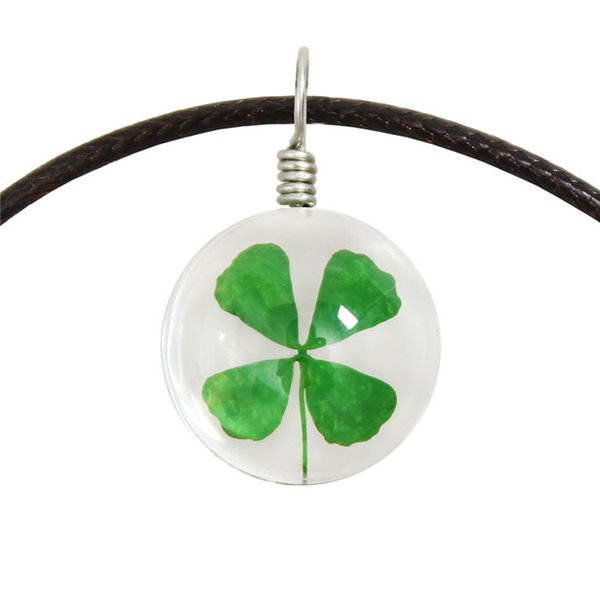 Nature green Clover Pendant Necklace grass of Life Necklace Double Glass Ball Chain Pendant Bohemian Hippie Style 15MM With Leather Rope
