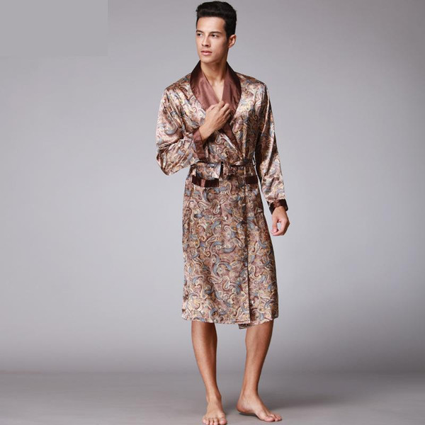 Men Kimono Robes V-neck Faux Silk bathrobes Nightgown For Male Senior Satin Sleepwear Summer Paisley Pattern Pajamas Set