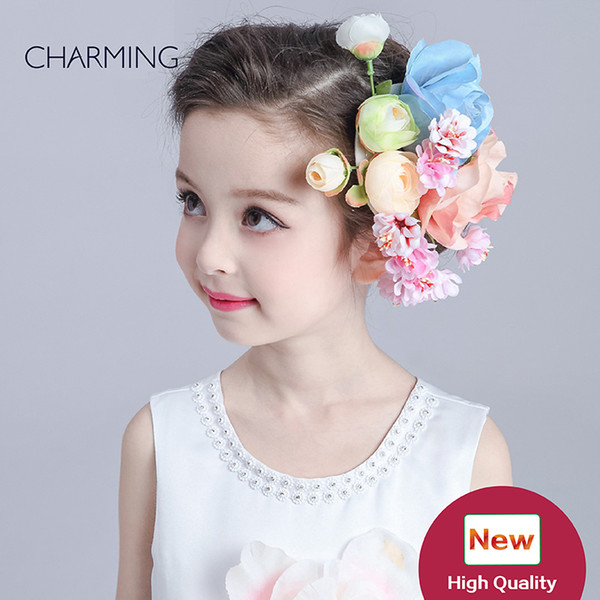 Hair flower beautiful Kids beauty contest And wedding hair tiara Kids dresses for girls Best flower girl Product supplier china