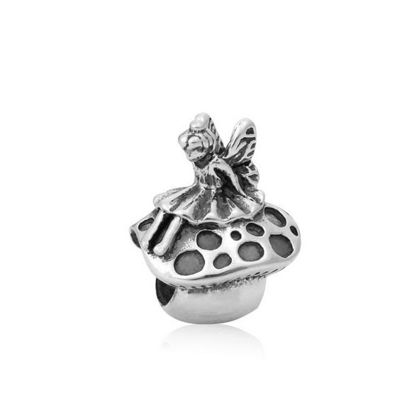 European Silver Plated Big Hole Charms Loose Beads Fit Pandora Bracelets 925 Jewelry Mushroom & Angel for Sale Girls Mom Jewelry Making DIY