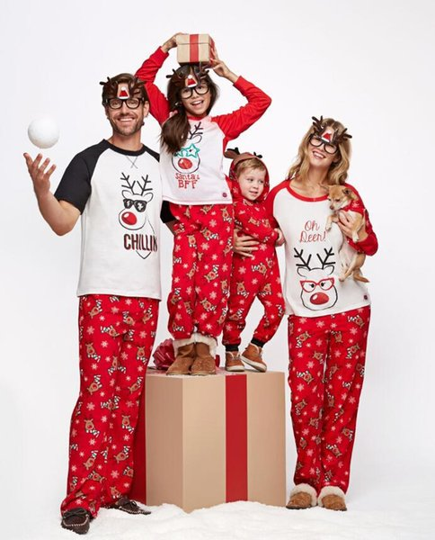 Christmas Pajamas Family Christmas Matching Clothes Family Pajamas Sets Father Mother Daughter Son Matching Outfits Elk Printing Clothes Set