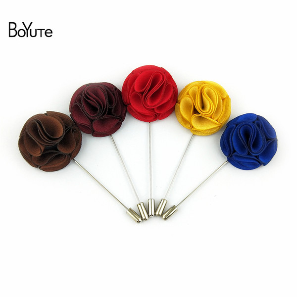 BoYuTe 30Pcs Hand Made Men Lapel Pins for Suits Fashion Fabric Flower Brooch Wedding Boutonniere Pins Christmas Ornament