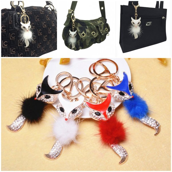 4 Color Lovely Fox Fur Ball Big Pompon Keychain Rhinestone Key Chain Ring Bag Purse Pendant Keyring For Women Cool Gift C135L