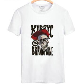 Brawdywine skull T shirt Quick dry short sleeve gown Kidsyc street tees Leisure unisex clothing Quality cotton Tshirt
