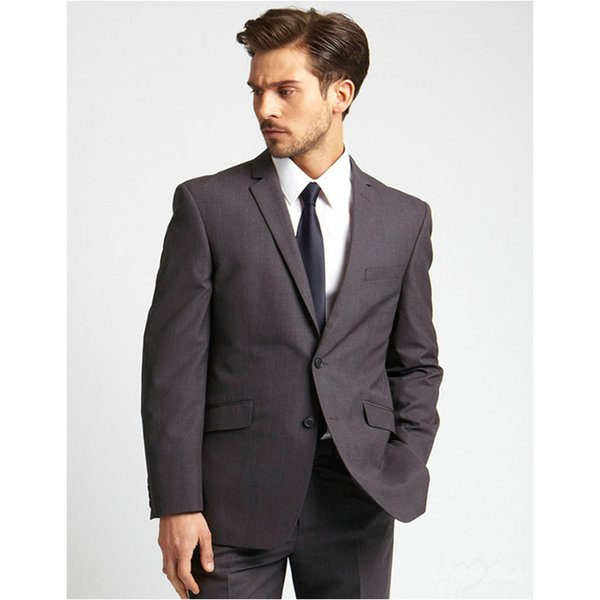 Bespoke Hot Sale Handsome Classic Two Buttons Notch Lapel Men Suits Gray Wedding Dress Maillot Homme( jacket+Pants+tie)