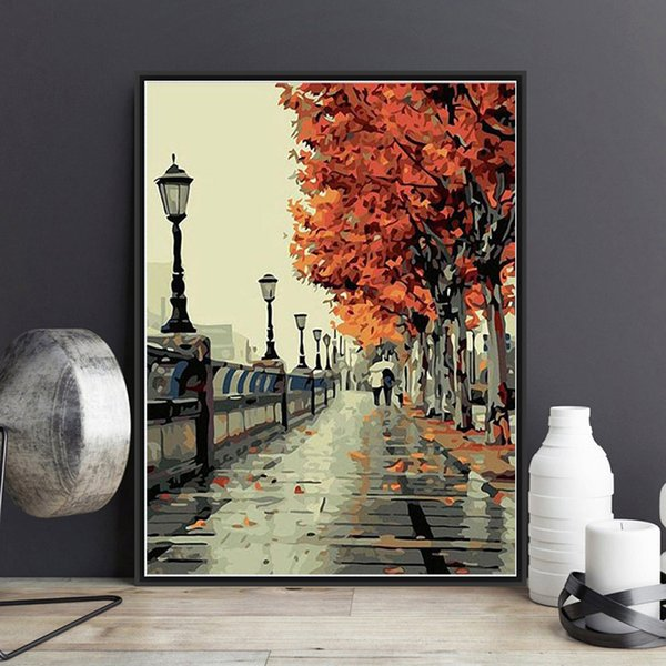Europe Vintage DIY Painting By Numbers Kits Acrylic Paint Autumn Love In Full Bloom On Canvas Hand-Painted Oil Painting For Wall Art Work