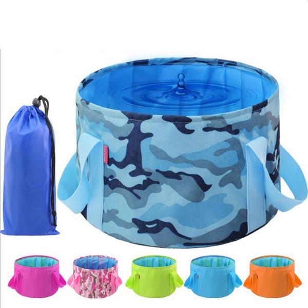 Outdoor Folding Washing Basin Portable Bucket Water Pot Hiking Camping Folding Bucket Fishing Bag Camouflage Free shipping