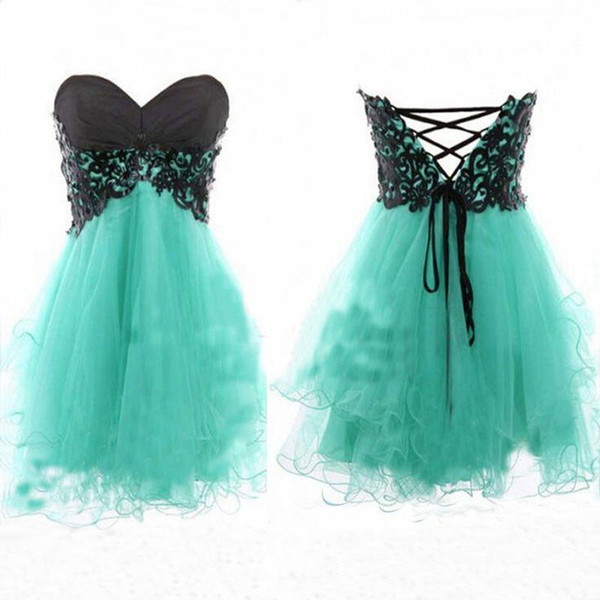 Cheap mint green strapless homecoming dresses with black lace top corset back A line puffy mini short party prom dresses 2017 free shipping