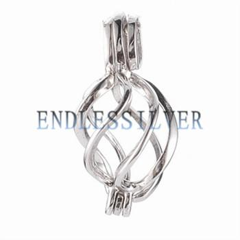 Wishing Pearl Cage Pendant 925 Sterling Silver Helix Twister Pendant for Pearl and Gems Party Gift