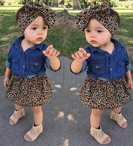 Fashion Children Leopard outfits kids girls cotton T-shirt+Leopard Dress + Leopard heandband 3pcs/set baby INS suit
