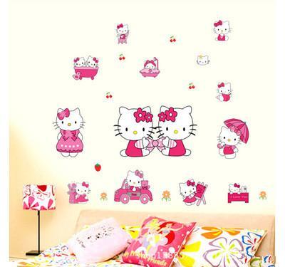 50*70cm Cartoon wall stick kindergarten children room bedroom girl KT cat hello Kitty Wall Stickers For Kids Rooms