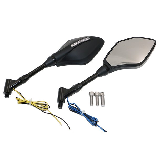 Universal E-Mark Rear view Back Side Mirrors With Integrated LED Turn Signal Light For Motorcycle/Motorbike