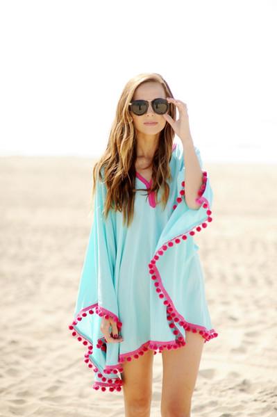 Großhandelsflügel-Hülsen-Chiffon- Blusen-Frauen-beiläufiger Blumendruck-lose Kimono-Hemden-große Größen-Strand-Tunika übersteigt Schößchen Blusas Freies Verschiffen