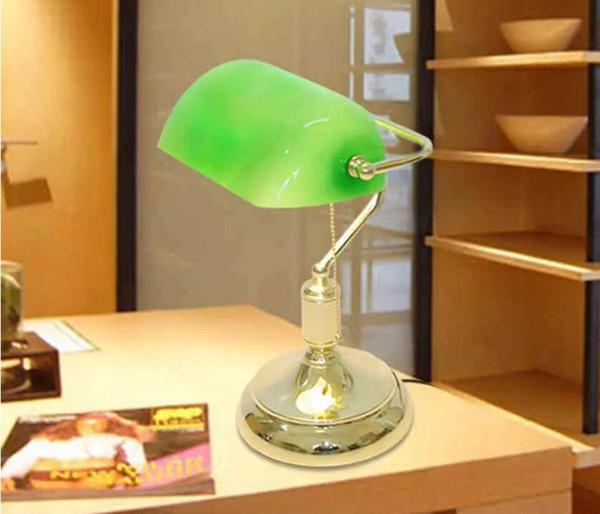 Vintage Bank Lampes De Table Rétro Laiton Banquiers Lampe Vert En Verre Abat-Jour Bureau Bureau Salle Lampe De Table Lampes Lampe De Bureau
