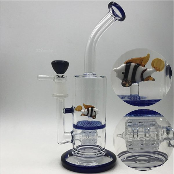 Glass Bongs Animal on Honeycomb Bong Double filter perc Water pipes Elephant Octopus cute funny colorful dab oil Rig rigs heady beaker pipe