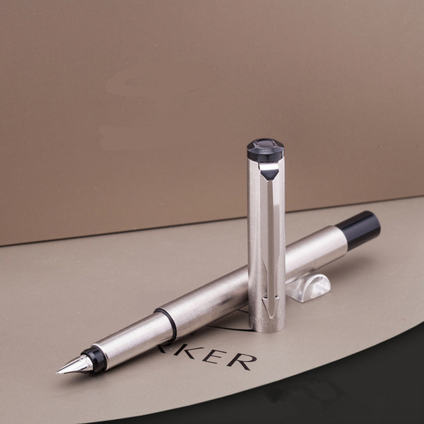best selling 2pc gift Parker Stainless Steel With Silver Trim Medium M Nib Fountain Pen