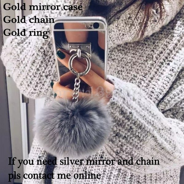 2017 Gold Metal Rope Mirror phone Back Cover Capa gold chain rabbit fur ball pompom For iphone 7 4.7 inch Case