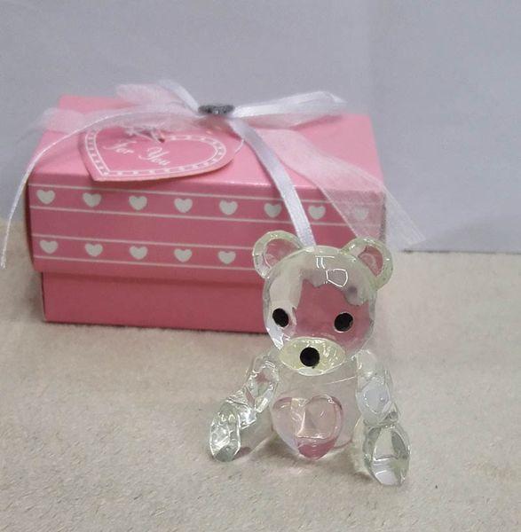 Cystal Baptismo Gifs Lembranças Do Chuveiro Do Bebê favorece Crystal Collection Teddy Bear Artesanato Favores com Rosa azul 100 pcs Atacado