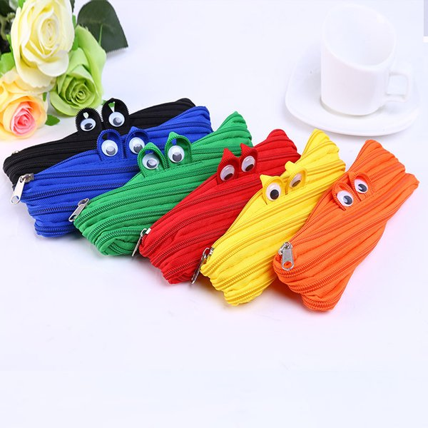 Pencil Bags Creative Stationery Simple Lovely Little mMonster Large Canvas Zipper Bag Originality Stationery Canvas Hot Sell 3 3hs J R