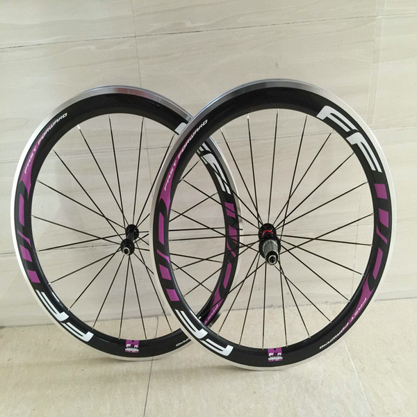 2018 Newest arrival white purple FFWD F6R 50mm alloy surface road bike wheeks 3k clincher 700C road bike carbon wheels with ceramic hubs